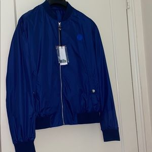 NWT Versace Collection blue bomber jacket w/ logo